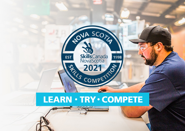 A young man working on a laptop at the Nova Scotia Skills Competition. Superimposed Logo of 2021 Nova Scotia Skills Competition